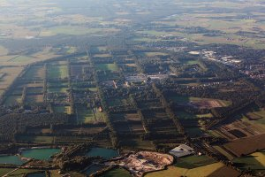 Het rastervormige landschapspatroon is nog erg zichtbaar in Merksplas, 2014 (Ludo Verhoeven).