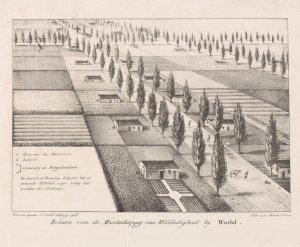 Kolonie van de Maatschappij van Weldadigheid bij Wortel, lithografie door Van den Eynde, omstreeks 1822 (Rijksmuseum Amsterdam).